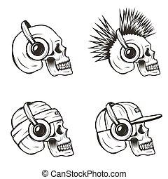 czaszka, komplet, ilustracja, ręka, wektor, muzyka,...