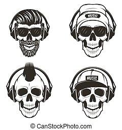 czaszka, komplet, ilustracja, ręka, wektor, muzyka, przód,...