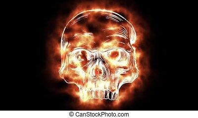 czaszka, płonący, stworzenie, formuje, znowu, cyfrowy