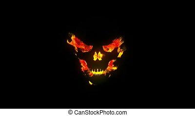 czaszka, płonący