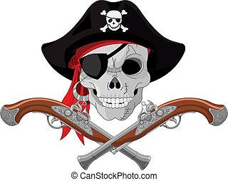 czaszka, pistolety, pirat
