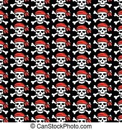 czaszka, próbka, krzyżowany, tło, kość, bandana, pirat, czerwony