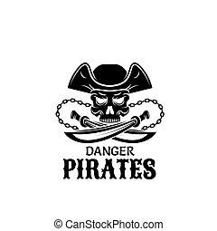 czaszka, projektować, miecz, kapitan, kapelusz, pirat, ikona