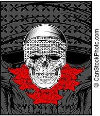 czaszka, róża