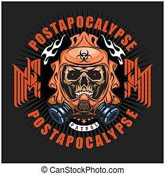 czaszka, t-koszule, post-apocalypse, herb, marynarka, grunge., projektować, rocznik wina, przemysłowy