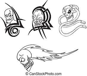 Tatuaże Czaszka Capstrzyk Drut Kolczasty Czaszka