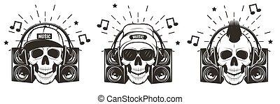 czaszka, wektor, komplet, ilustracja, muzyka, ręka,...