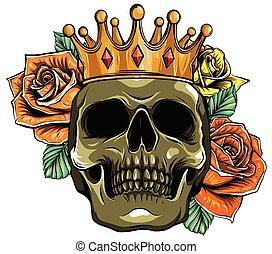 czaszka, wektor, róże, korona, ilustracja, śmierć, ludzki