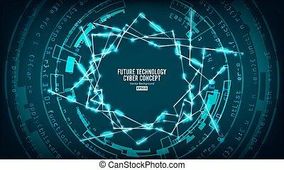 cześć, structure., sieć, technologia, abstrakcyjny, cyber, tło., połączenie, wektor, futurystyczny, cyfrowy, bezpieczeństwo, przyszłość, szybkość, concept., zasłona, design.