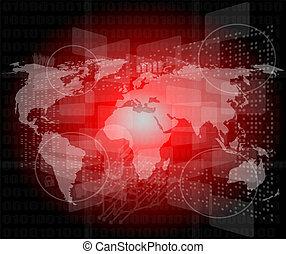 cześć-tech, handlowy, ekran, tło, cyfrowy, dotyk