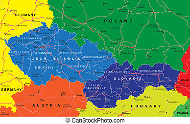 Highly detailed vector map of Czech and Slovak Republics with administrative regions, main cities and roads.