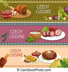 Czech cuisine banner set for food theme design