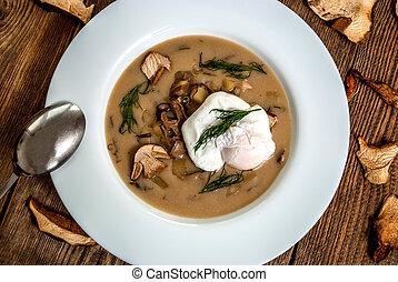 Czech dill soup - Czech traditional soup kulajda with dill...
