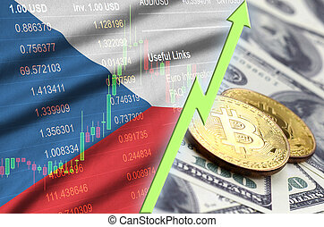 Czech flag and cryptocurrency growing trend with two bitcoins on dollar bills