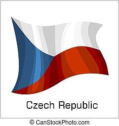 Czech flag, flag of Czech Republic vector illustration