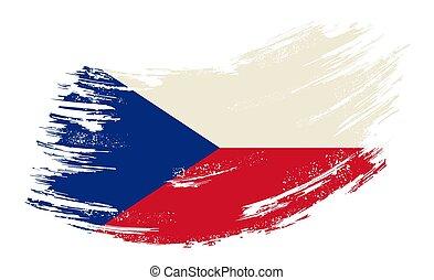 Czech flag grunge brush background. Vector illustration.