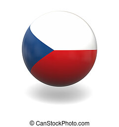 Czech flag - National flag of Czech republic on sphere...
