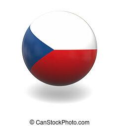 Czech flag - National flag of Czech republic on sphere...