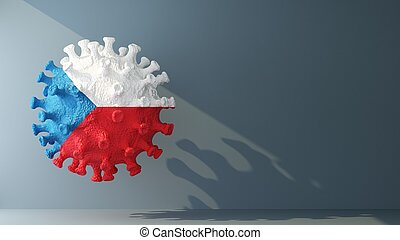 Czech flag on covid-19 virus with copy space