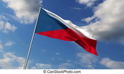 Czech flag waving against time-lapse clouds background