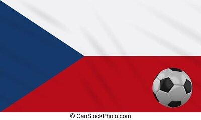 Czech flag waving and football rotates, loop - Czech...