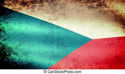 Czech Flag Waving, grunge