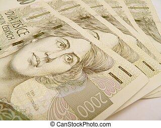 Czech korunas CZK (legal tender of the Czech Republic) banknotes