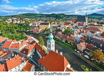 Czech Krumlov. View from the tower Hradek. South Bohemian ...