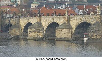 Czech Medieval Charles Bridge - The famous Charles Bridge in...
