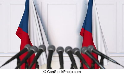 Czech official press conference with flags. 3D animation -...