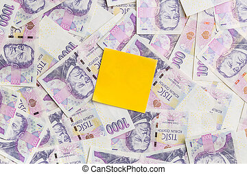Czech paper money. - Yellow note paper on czech paper money...