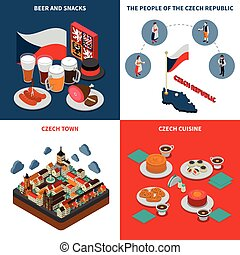 Czech Republic  4 Isometric Icons Square