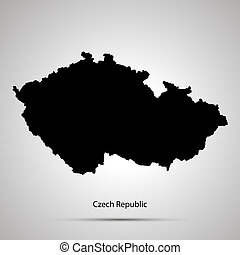 Czech Republic country map, simple black silhouette on gray