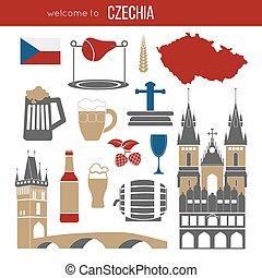 Czech Republic culture symbol set. Europe Travel Prague...