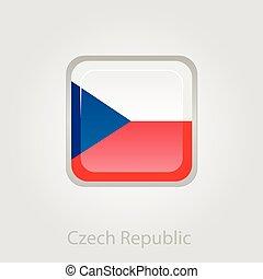 Czech Republic flag button, vector illustration