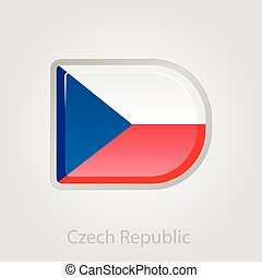 Czech Republic flag button, vector illustration