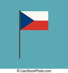 Czech Republic flag icon in flat design