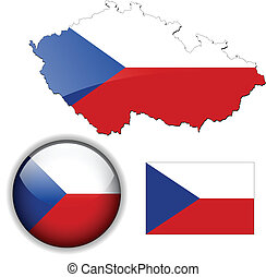 Czech Republic flag, map and glossy button, vector illustration set.