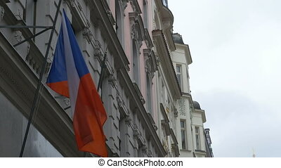 Czech Republic Flag on Building - Czech Republic flag waving...