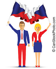 Czech Republic flag waving man and woman