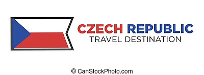 Czech Republic flag with travel destination words - Czech...