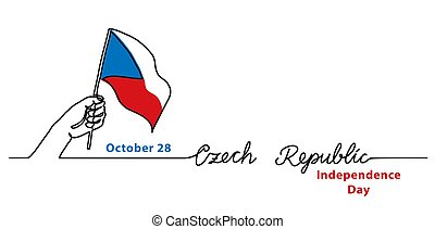 Czech Republic Independence Day minimalist vector web banner...