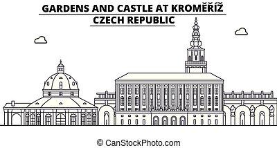 Czech Republic - Kromeriz, Gardens And Castle travel famous landmark skyline, panorama vector. Czech Republic - Kromeriz, Gardens And Castle linear illustration