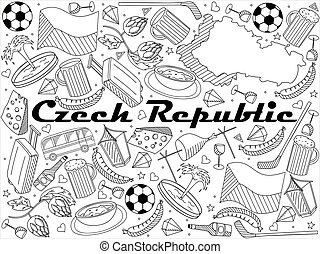 Czech Republic line art design vector illustration - Czech...