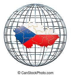 Czech Republic map on the Earth Globe. 3D rendering