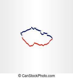 czech republic map vector icon