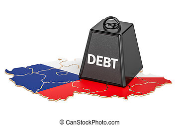 Czech Republic national debt or budget deficit, financial crisis concept, 3D rendering