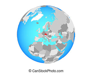 Czech republic on globe isolated