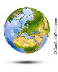 Czech republic on globe