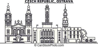Czech Republic, Ostrava line skyline vector illustration. czech Republic, Ostrava linear cityscape with famous landmarks, city sights, vector landscape.